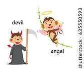 opposite words devil and angel... | Shutterstock .eps vector #635550593
