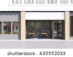 cafe exterior with gray walls... | Shutterstock . vector #635552033