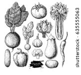 vegetable hand drawn vector set.... | Shutterstock .eps vector #635555063
