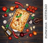 lasagna in baking dish   Shutterstock . vector #635556263