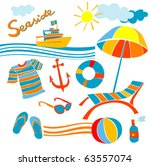 stylized icons beach set... | Shutterstock .eps vector #63557074
