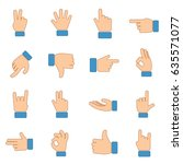 hand gestures icons collection. ... | Shutterstock .eps vector #635571077