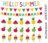 summer sweets vector banners set | Shutterstock .eps vector #635572547