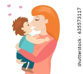 red head mother gently holding...   Shutterstock .eps vector #635573117