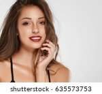 beautiful woman skin tanned red ... | Shutterstock . vector #635573753