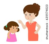 mother angry at her daughter... | Shutterstock .eps vector #635574023