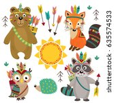set of isolated tribal animals... | Shutterstock .eps vector #635574533