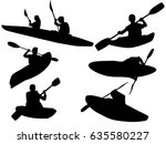 set of kayak silhouette   Shutterstock .eps vector #635580227