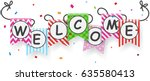 welcome sign banner with... | Shutterstock . vector #635580413