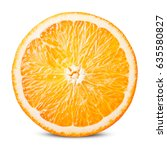 Small photo of Orange fruit. Round slice isolated on white background. With clipping path.