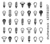 the best set light bulbs  led... | Shutterstock .eps vector #635581007