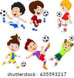 cartoon little boy playing... | Shutterstock .eps vector #635593217