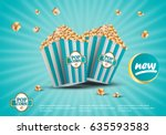 3d popcorn isolated on... | Shutterstock .eps vector #635593583