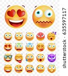 set of cute emoticons on white... | Shutterstock .eps vector #635597117