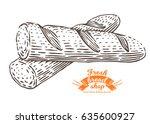 hand drawn baguette in... | Shutterstock .eps vector #635600927