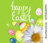 happy easter spring holiday... | Shutterstock . vector #635603093