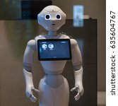 Small photo of TOKYO, JAPAN - CIRCA MARCH, 2017: Pepper robot. Pepper is a humanoid robot by Aldebaran Robotics and SoftBank designed with the ability to read emotions.