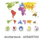 high detailed map with globes | Shutterstock .eps vector #635605763