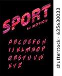 font in sport style. dynamic... | Shutterstock .eps vector #635630033