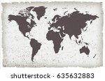 world map in grunge style.old... | Shutterstock .eps vector #635632883