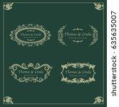 vintage wedding labels vector   Shutterstock .eps vector #635635007