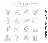 icons set birthday and...   Shutterstock .eps vector #635635817