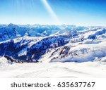 Sunny Winter Day In Alpine Ski...