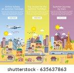 summer travel banners in flat... | Shutterstock .eps vector #635637863