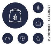 set of 6 cook outline icons set....   Shutterstock .eps vector #635638397