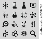 research icons set. set of 16... | Shutterstock .eps vector #635639267