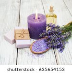 spa products and lavender... | Shutterstock . vector #635654153