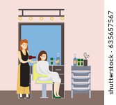 isolated hairdressing salon... | Shutterstock .eps vector #635657567