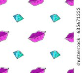 vector seamless pattern of lips ... | Shutterstock .eps vector #635671223