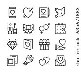 dating line icons set. modern... | Shutterstock .eps vector #635671883