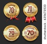 anniversary golden retro...   Shutterstock .eps vector #635673533