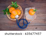 vitamin c form oranges and... | Shutterstock . vector #635677457