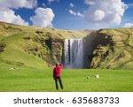 skogafoss waterfall in iceland. ... | Shutterstock . vector #635683733