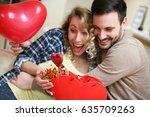 boyfriend and his girlfriend... | Shutterstock . vector #635709263