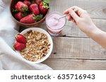 healthy breakfast. muesli and... | Shutterstock . vector #635716943
