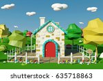 cartoon house with countryside... | Shutterstock . vector #635718863