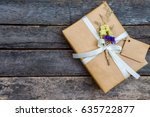 above brown gift box white...   Shutterstock . vector #635722877