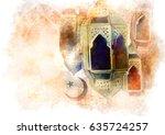 islamic muslim holiday ramadan... | Shutterstock . vector #635724257