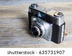 old vintage retro camera on a... | Shutterstock . vector #635731907