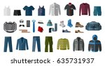 set of men s clothing and... | Shutterstock .eps vector #635731937