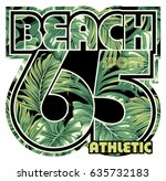beach with tropical leaves... | Shutterstock .eps vector #635732183
