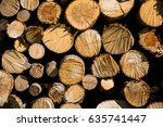 Big Pile Of Logs As Background.