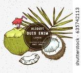 sketch vector tropical food... | Shutterstock .eps vector #635742113