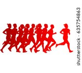 set of silhouettes. runners on... | Shutterstock . vector #635754863
