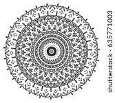 flower mandalas. vintage... | Shutterstock .eps vector #635771003