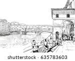 ponte vecchio florence. italy.... | Shutterstock .eps vector #635783603